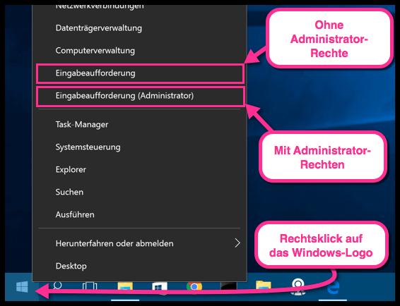Windows 10 Eingabeaufforderung mit oder ohne Administratorrechte öffnen