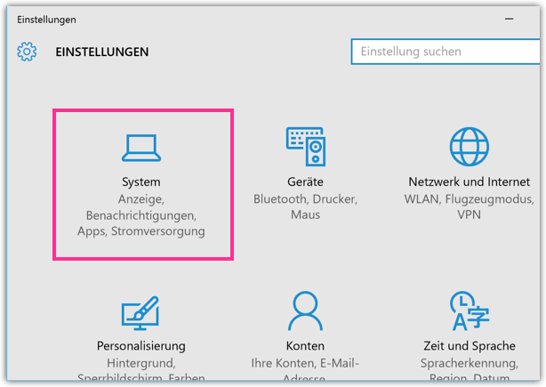 Windows 10 Einstellungen System