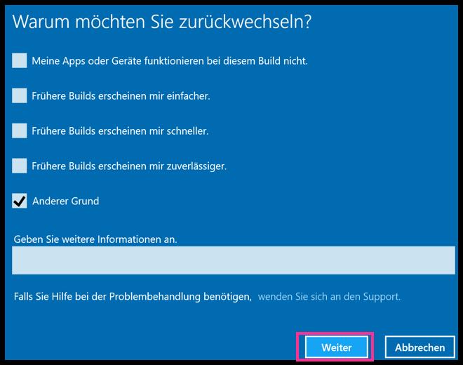 Windows 10 Grund für den Wechsel zu Windows 7 oder 8.1