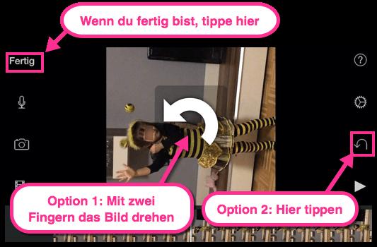 iPhon oder iPad Bild drehen mit iMovie