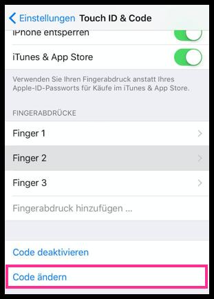 iPhone Code ändern