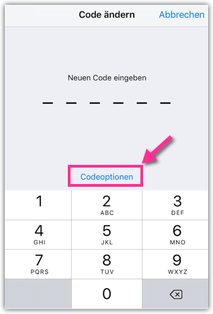 iPhone Codeoptionen