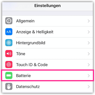 iPhone Einstellungen Batterie