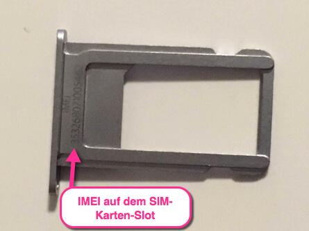 iPhone IMEI Nummer auf dem SIM-Slot