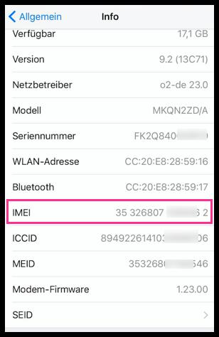 iPhone IMEI Nummer