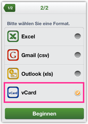 iPhone Kontakte als vCard exportieren