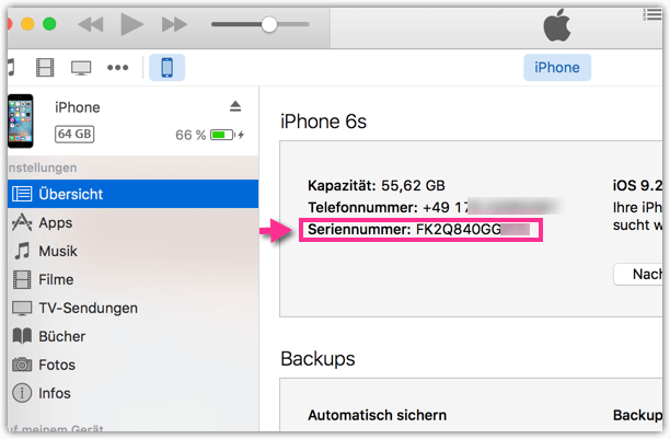 iphone in itunes anzeigen