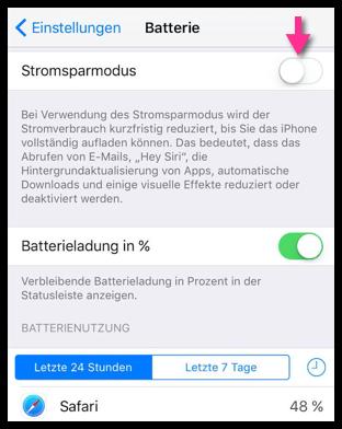 iPhone Stromsparmodus aktivieren deaktivieren