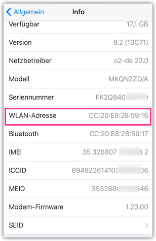 iPhone WLAN Adresse Mac Adresse