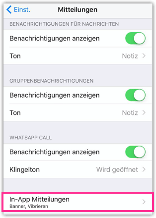 iPhone WhatsApp In-App Mitteilungen