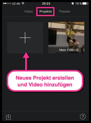 iPhone iMovie Projekt erstellen