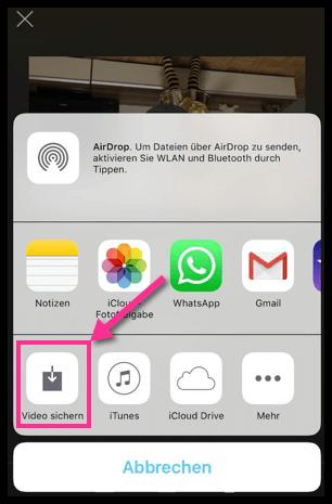 iPhone iMovie Video sichern