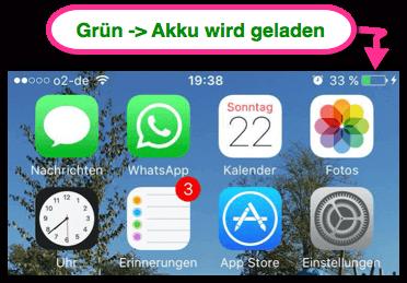 iPhone- Pad Akku-Symbol ist grün
