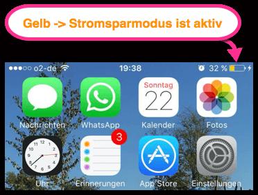 iPhone iPad Akkusymbol ist gelb also stromsparmodus