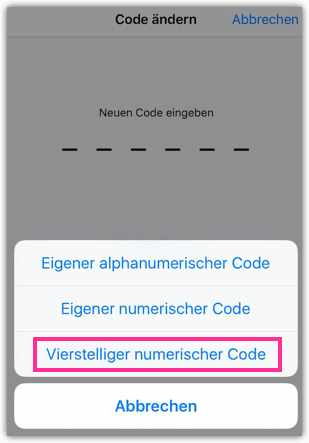 iPhone vierstelliger Code