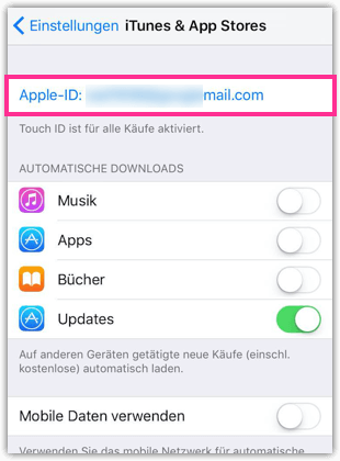 Apple-ID antippen