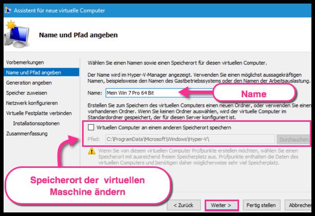 Name und Speicherort der Virtuellen Maschine in Hyper-V