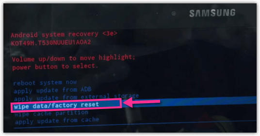 Samsung Galaxy TA Wipe Data Factory Reset