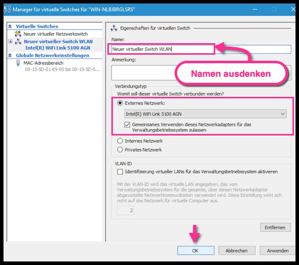 Windows 10 Einen Namen fuer den Virtuellen Switch in Hyper-V