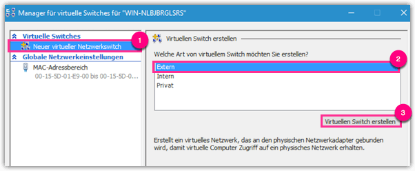 Windows 10 Hyper-V Virtuellen Switch erstellen