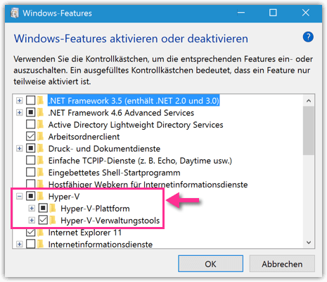 Windows 10 Hyper-V aktivieren