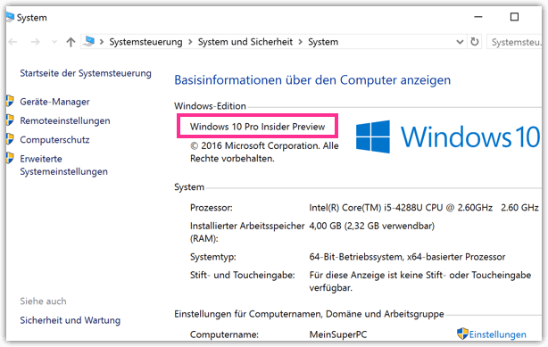 Windows 10 System Pro Home oder Enterprise