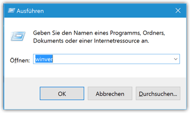 Windows 10 Winver-Befehl