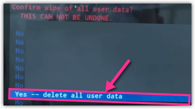 Yes Delete All user Data