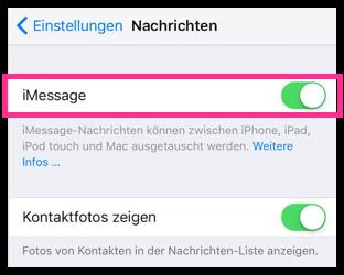 iMessage direkt auf dem iPhone deaktivieren oder aktivieren