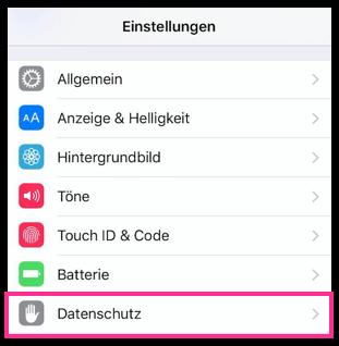 iPhone Datenschutz-Einstellungen