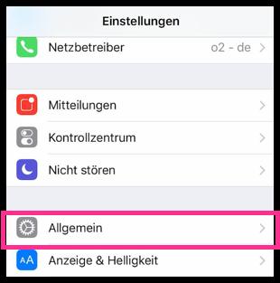 iPhone Einstellungen Allgemein