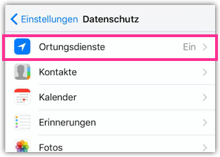 iPhone Einstellungen Ortungsdienste
