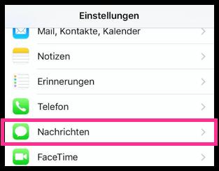 iPhone Nachrichten-Einstellungen