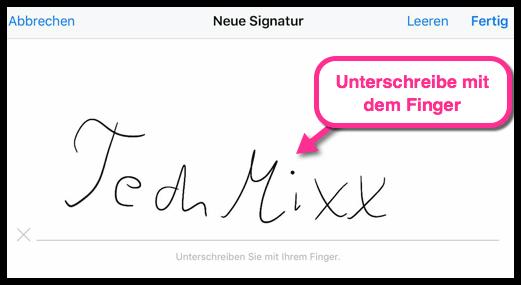 iPhone Unterschreiben mit dem Finger in PDF
