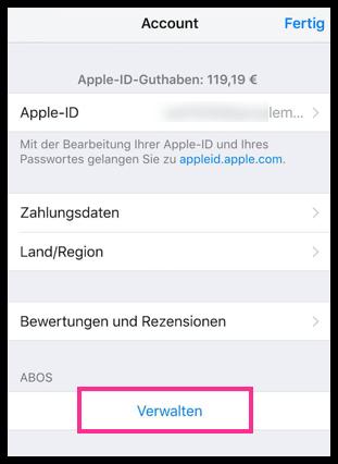 iPhone iPad Abos Verwalten