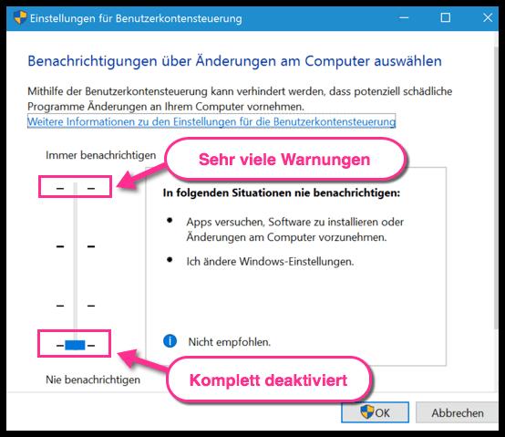 Windows 10 Benutzerkontensteuerung komplett deaktiviert