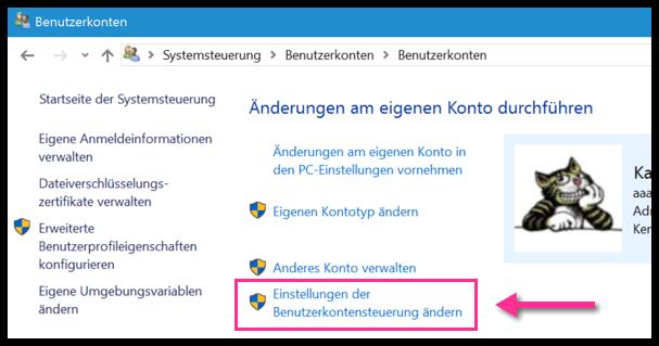Windows 10 Einstellungen der Benutzerkontensteuerung