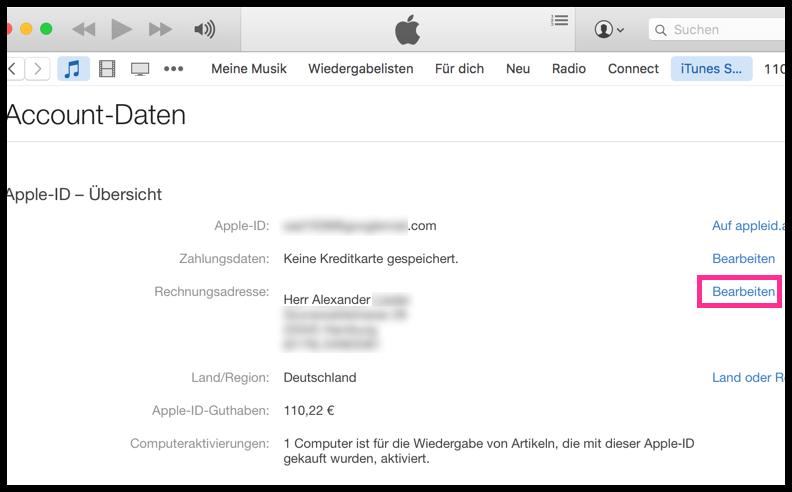 Account-Daten Rechnungsadresse in iTunes anzeigen oder ändern