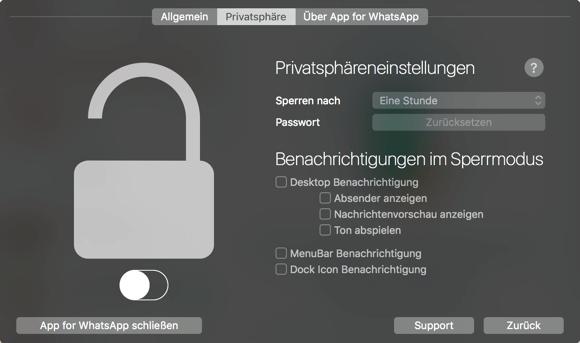 App for WhatsApp Privatsphäre