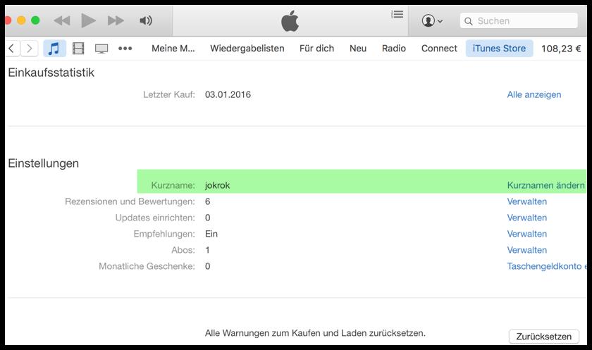 Kurznamen für App Store und iTunes Bewertungen ändern