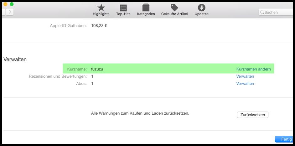 Kurznamen im App Store unter OS X ändern