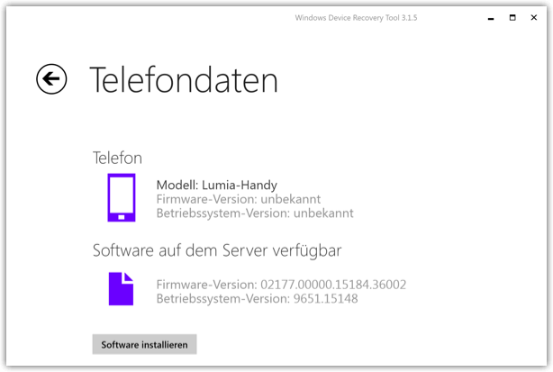 Lumia Software installieren ueber das Recovery Tool
