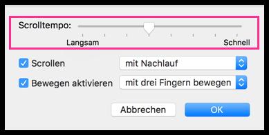 Mac Trackpad Scrolltempo einstellen