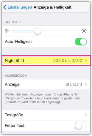 iphone blaulichtfilter aktivieren oder deaktivieren night shift techmixx. Black Bedroom Furniture Sets. Home Design Ideas