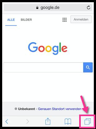 Safari iOS Übersicht aller Tabs