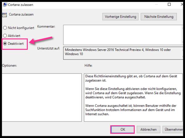 Windows 10 Cortana Deaktivieren Editor fuer lokale Gruppenrichtlinien