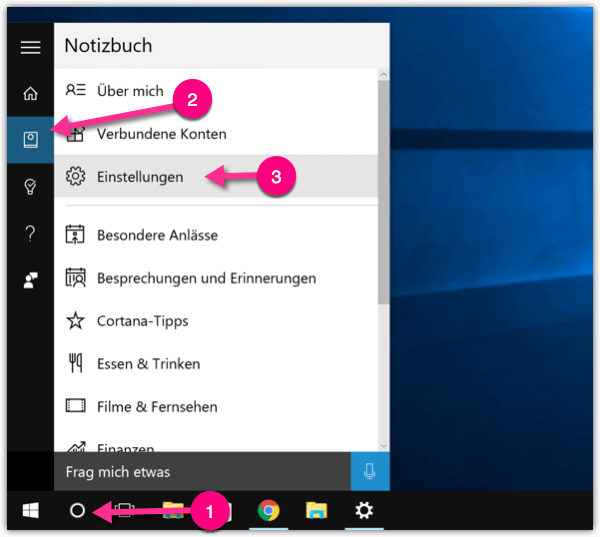 Windows 10 Cortana Einstellungen
