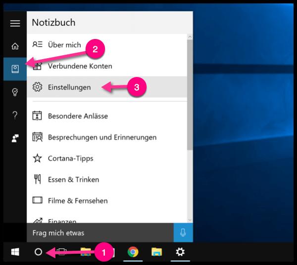 Windows 10 Cortana Einstellungen