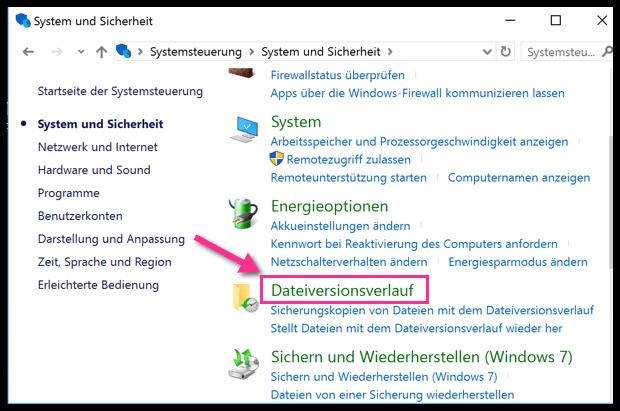 Windows 10 Dateiversionsverlauf in der Systemsteuerung