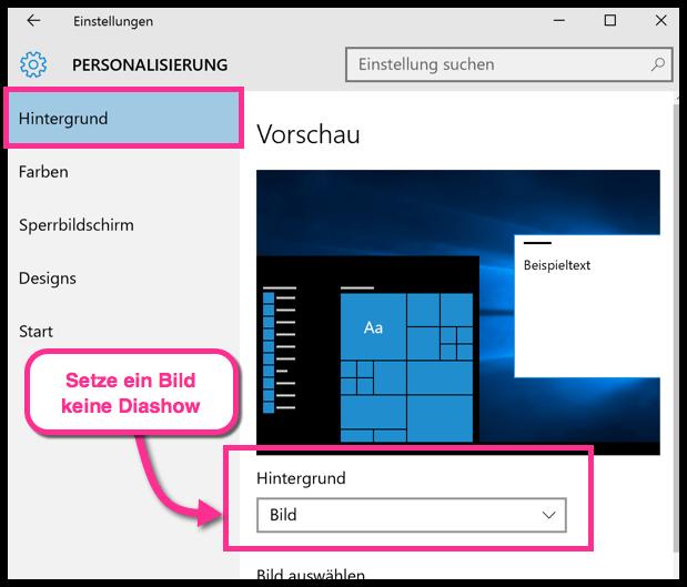 Windows 10 Hintergrund keine Diashow